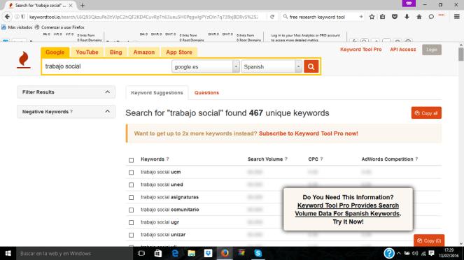 keywords en google sobre trabajo social